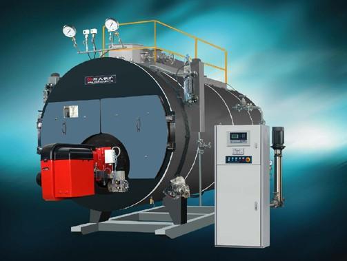 一 、三回程结构    W N S--Q(Y)系列全自动燃油燃气蒸汽锅炉,均采用为锅壳式三回程、全湿背结构。燃料在炉胆内微正压燃烧,高温烟气沿炉胆向后经回燃室进入第一烟道管束,经压迫式前烟箱转折180进入第二管束,经过对流换热后排入大气。    我们利用中心对称的三回程结构的设计思想,设计容量较大的三回程蒸汽锅炉。这种锅炉最大的特点:所有的受压元件与锅筒中心对称,锅炉采用全湿背式结构,以极大的内筒和偏心火箱的结构,其有利于提供足够的辐射受热面。而对流受热面有第二回程和三回程的管束构成。回燃室前管板
